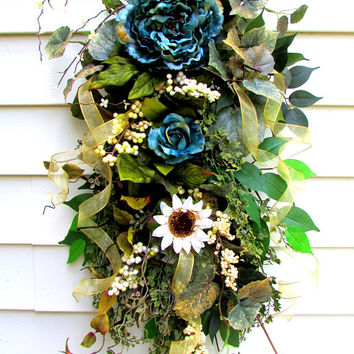 Floral door swag, fall door wreath, swag wreath, Spring Summer Fall, country rustic decor, fixer upper swag, rustic decor, farmhouse decor