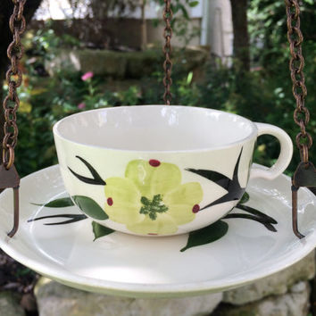 Bird feeder, Hanging Bird feeder, Blue Ridge Pottery, Dixie Dogwood, Upcycled Bird feeder, Vintage Pottery, Teacup Bird Feeder