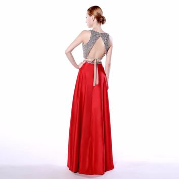 Shining Red Satin 2 Piece A Line V Neck Long Evening Dresses Beaded Sleeveless Backless Floor Length Evening Dress
