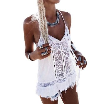 Lace Crochet Hollow Out Tank Top