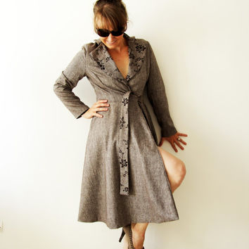 women brown knee length coat, tweed women coat, tweed wrap coat, one of a kind,  brown wrap coat