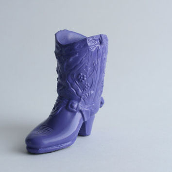 Cowboy Boot, Purple Cowboy Boot, Girls Cowboy Boot, Upcycled Western Decor