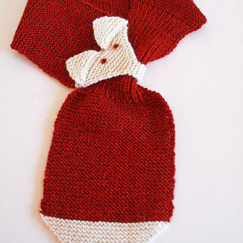 Children's Fox Scarf, Hand Knit Adjustable Neck Warmer with Pull Through Keyhole, Warm Winter Scarf in Brick Red and Cream for Kids