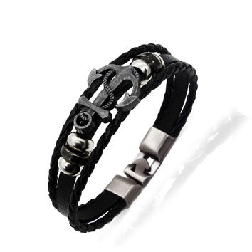 MAOKE Men's Anchor Bracelet&Bangle Male Multilayer Accessories Homme Jewelry Black Color Leather Bracelets Valentine's Day Gift