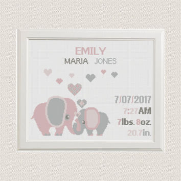 Cross stitch elephants with hearts Birth announcement cross stitch pattern baby sampler  new baby girl birthday gift nursery decor wall art