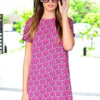 Pink Floral Print Short Sleeve Shift Dress