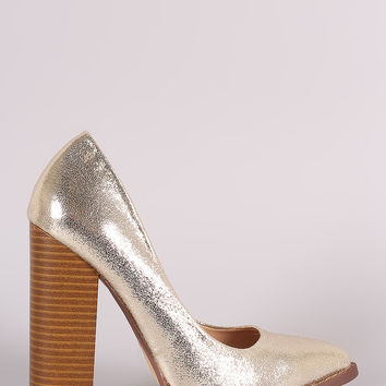 Liliana Metallic Pointy Toe Chunky Heeled Pump
