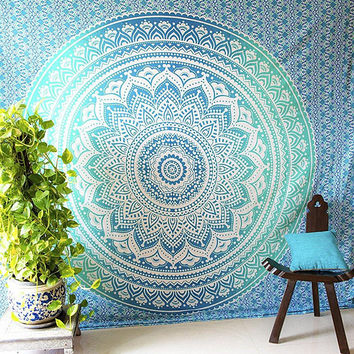 Green Blue Ombre Indian Mandala Tapestry Hippie Indian Bedspread Dorm Decor Wall Tapestries Queen Size Handmade