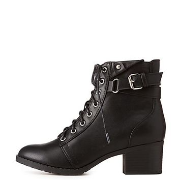 Faux Leather Lace-Up Combat Boots   Charlotte Russe