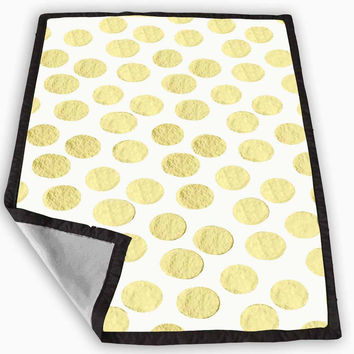Gold Painted POLKA DOTS Blanket for Kids Blanket, Fleece Blanket Cute and Awesome Blanket for your bedding, Blanket fleece *