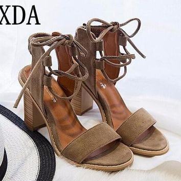 XDA 2017 Sexy Women Pumps Open Toe Lace up Heels Sandals Woman sandals Thick with Wome