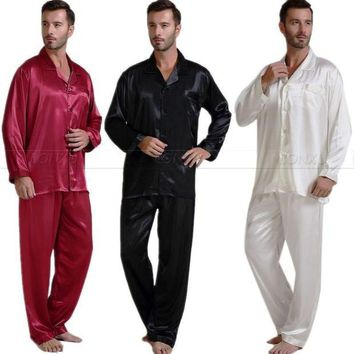 DCCKL72 Mens Silk Satin Pajamas Set  Pajama Pyjamas Set  PJS  Set  Sleepwear  Loungewear  S,M,L,XL,2XL,3XL,4XL__Perfect  Gifts