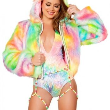 Rainbow Sherbert Light Up Cropped Jacket | LED Fur Jacket from RaveReady