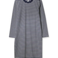 Striped Long Sleeved Midi Dress by Boutique - Navy Blue