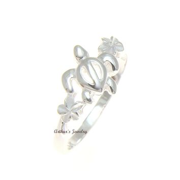 STERLING SILVER 925 HAWAIIAN HONU TURTLE PLUMERIA FLOWER RING SIZE 3 - 12