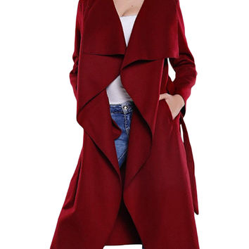 Drape Open front Belted Trench Coat in Burgundy or Camel