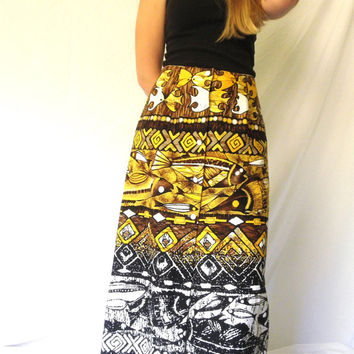 Vintage 60s Hawaiian Barkcloth Maxi Skirt TIKI  Polynesian Print Skirt Yellow Black White Sexy Front Slit High Fashion Urban Chic Medium