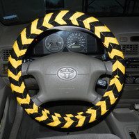 Black and Gold Chevron Steering Wheel Cover