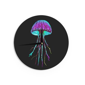 "Ivan Joh ""Night Of Jellyfish"" Black Purple Wall Clock"