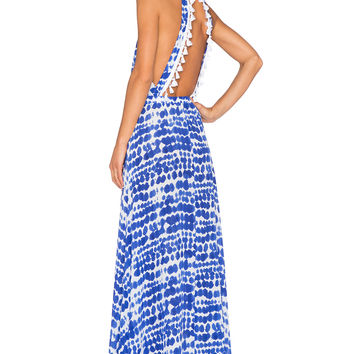 Alexis Wyatt Cut Out Maxi Dress in Blue & White