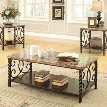 Coaster 701695 3 pc brown faux marble top and brown twisted metal legs and frame coffee and end table set
