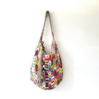 Vintage statement purse / large leather bag / patchwork leather tote / large shoulder bag / colorful leather