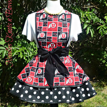 Utah Utes Womens Apron, Womens Utes Football, Tailgating Apron, Womens Flirty Apron, Graduation Gift, Gifts for Her