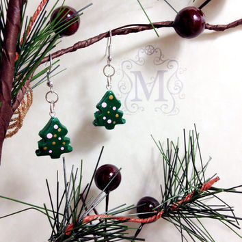 Christmas Tree Earrings Holiday Polymer Clay
