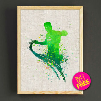 Green Lantern Superhero Watercolor Art Print Justice League Superhero Poster House Wear Wall Decor Gift Linen Print - Buy 2 Get FREE - 35s2g