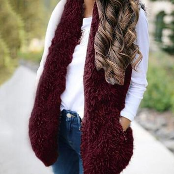Burgundy Faux Fur Pockets Pom Pom Furry Fuzzy Casual Cardigan Vest
