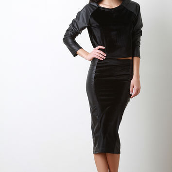 Velvet And Vegan Leather Midi Pencil Skirt