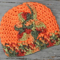 Fall baby hat 0-3 months newborn autumn crochet pumpkin orange Multi color leaf accent. Ready to ship