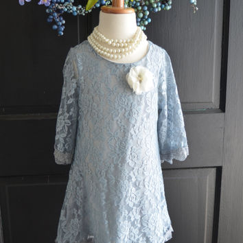 Dove Gray Lace Flower Girl Dress