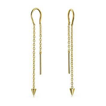 Arrow Spike Chain Threader Earrings 14K Gold Plated Sterling Silver