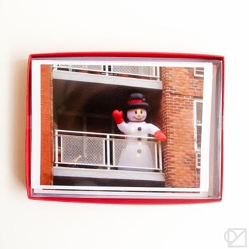 Snowman On Balcony 12 Card Box Set