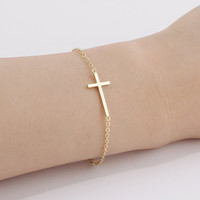 Elegant Womens Cross Bracelet Gold and Silver Color Available
