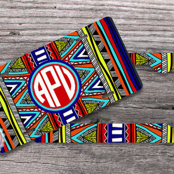 Monogrammed Set of TWO - Bright Colorful Aztec License plate and License Plate Frame ethnic style pattern, personalized gifts