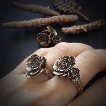 Bronze Rose Ring - designed and cast in my Austin Tx Studio - solid Bronze - plant jewelry - made by Jamie Spinello