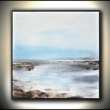 Framed Original Large Landscape Modern Art Blue Contemporary Oil Painting Abstract Art 37x37 by Sky Whitman