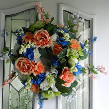 Spring/ Summer Wreath with Peach and cream Peony, Blue Hydrangeas, bellflowers, roses and berries