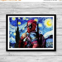 Valentines Day Sale Deadpool Print, Starry Night Print, Reproduction of Van Gogh, Deadpool Painted Poster, Gifts for him Deadpool, Wall Art