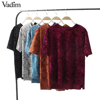 Women vintage velvet T shirt solid short sleeve o neck loose tees side split ladies spring casual brand tops camiseta DT900