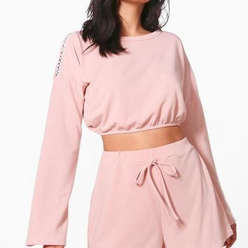 Poppy Elasticated Hem Sweat & Short Set | Boohoo