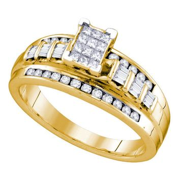 Yellow-tone Sterling Silver Womens Princess Diamond Cluster Bridal Wedding Engagement Ring 1/2 Cttw