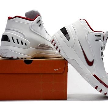 Nike Lebron 1 Air Zoom Genervation Sneaker -White/Wine Red