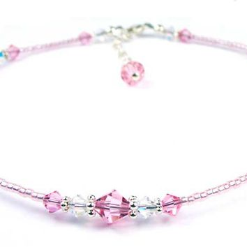 Pale Pink Tourmaline October Birthstone Handmade Crystal Beaded Anklets Bracelets