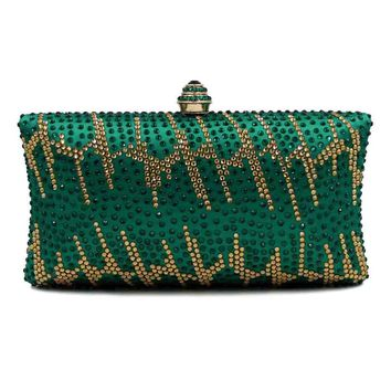 Vintage Green Crystal Evening Party Luxury Designer Box Clutches Women Handbag Purse Bridal Wedding Chain Prom Shoulder Bag