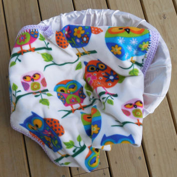Baby Blanket, Colorful Owl Polar Fleece with White Flannel backing, Double Sided Fleece and Flannel, Car Seat Cover, Shower Gift