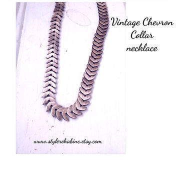 Vintage chevron Collar necklace.  Lies close to the neck.  Only one.  From 1970's.  Great for women, teens, friends. Stylish layering trend