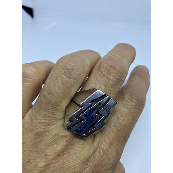 Vintage 1980's Southwestern Real Lapis Lighting Bolt Men's Ring